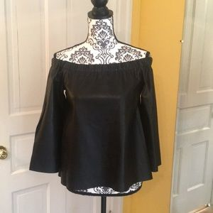 NWT Faux leather off shoulder top